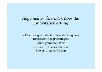 Allgemeiner Überblick über die Einheitsbewertung - gangolfs-seite.de