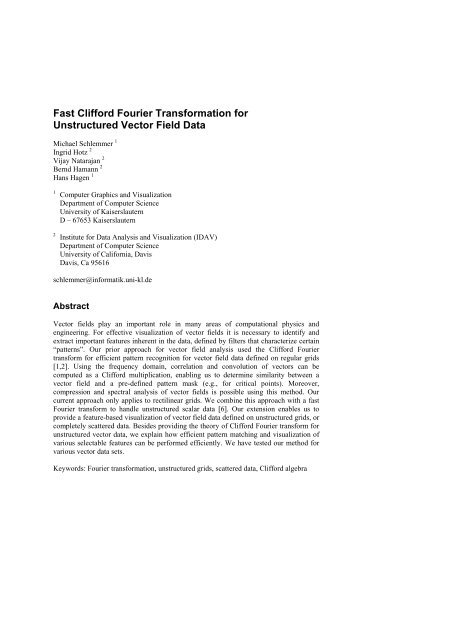Fast Clifford Fourier Transformation for - Computer Science and ...