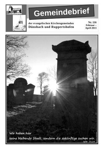 aktuellen Gemeindebrief Nr. 116 - Evangelischer Kirchenbezirk ...