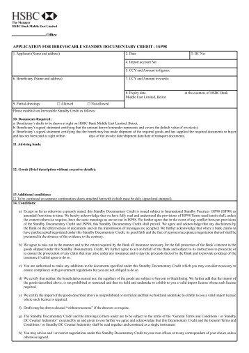 Application for irrevocable documentary credit dc application for irrevocable standby documentary hsbc lebanon altavistaventures Gallery