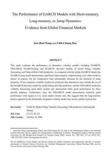Short Memory, Long Memory and Jump Dynamics in Global ...