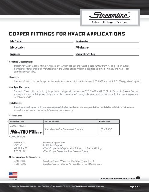COPPER FITTINGS FOR HVACR APPLICATIONS - Mueller Industries