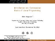 Introduction into Optimization Basics of Linear Programming