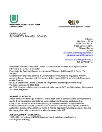 CURRICULUM ELISABETTA ZUANELLI SONINO - Cresec