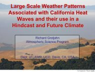 Large scale patterns associated with California heat waves and their