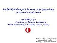 Parallel Algorithms for Solution of Large Sparse Linear ... - prace