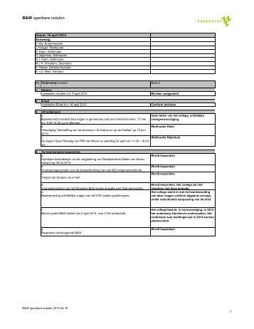 B&W notulen 2013-04-16 - Gemeente Purmerend