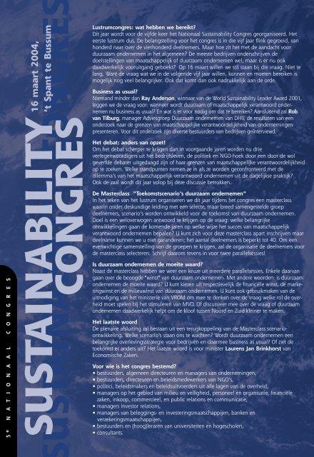 sustainability congres sustainability congres - Duurzaam Ondernemen