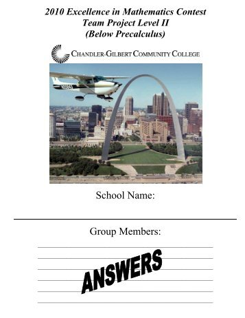 Level II Team Project - St. Louis Arch Solutions 2010