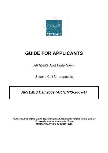 ARTEMIS Guide for Applicants 2009