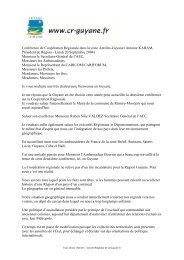 Conférence de Coopération Régionale dans la ... - Région Guyane