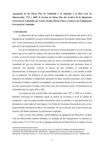 Agregación de las Obras Pías de Valladolid y - Diputación de ...
