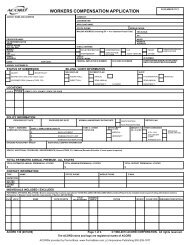 WORKERS COMPENSATION APPLICATION - ACORD Forms