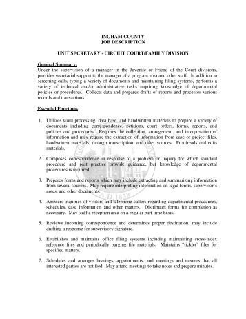secretary job description ingham county job description unit