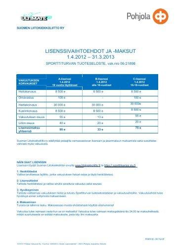 lisenssivaihtoehdot ja -maksut 1.4.2012 – 31.3.2013 - Ultimate.fi