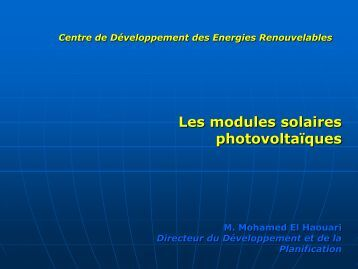 Les modules photovoltaïques - RIAED