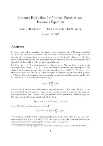 Variance Reduction for Markov Processes and Poisson's ... - LNMB