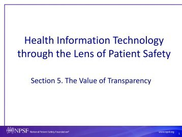 Health Information Technology through the Lens of Patient Safety