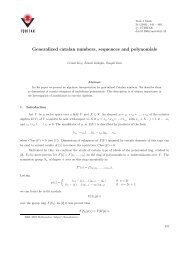 Generalized catalan numbers, sequences and polynomials