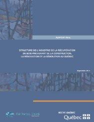 Rapport final – Structure de l'industrie de la récupération du bois ...