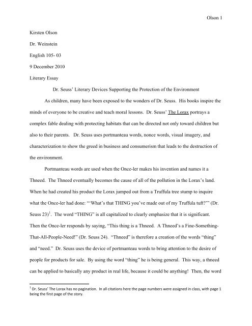 Literary Devices in The Lorax - VWC