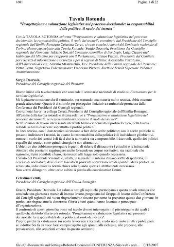 Tavola Rotonda - Parlamenti Regionali