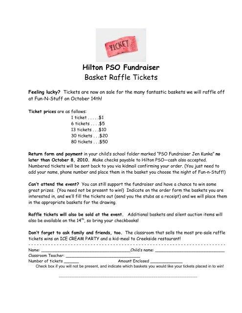 Hilton PSO Fundraiser Basket Raffle Tickets - Brecksville