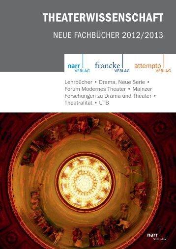 THEATERWISSENSCHAFT - Gunter Narr Verlag/A. Francke Verlag ...