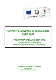 Rae 2011 - Il Fondo Sociale Europeo in Trentino - Provincia ...