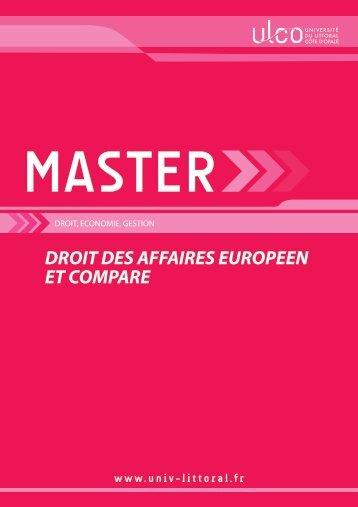 Droit des Affaires Européen et Comparé - Université du Littoral Côte ...