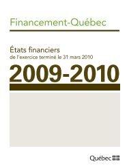 États financiers au 31 mars 2010 - Finances - Gouvernement du ...