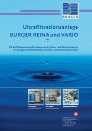 Ultrafiltrationsanlage BURGER REINA und VARIO
