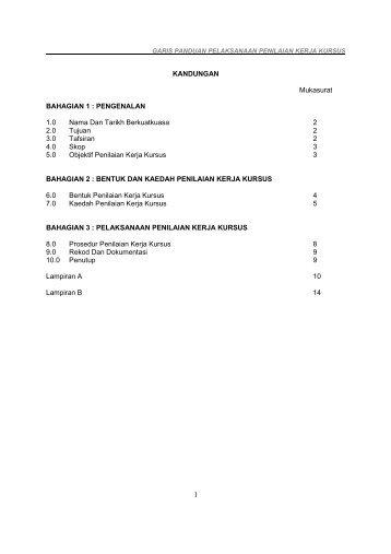 Garis Panduan Pelaksanaan Penilaian Kerja Kursus - Jabatan ...