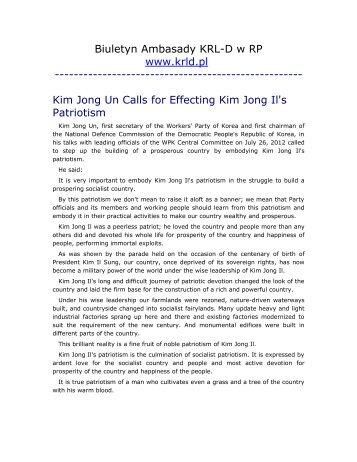 Kim Jong Un Calls for Effecting Kim Jong Il's Patriotism - Korea ...