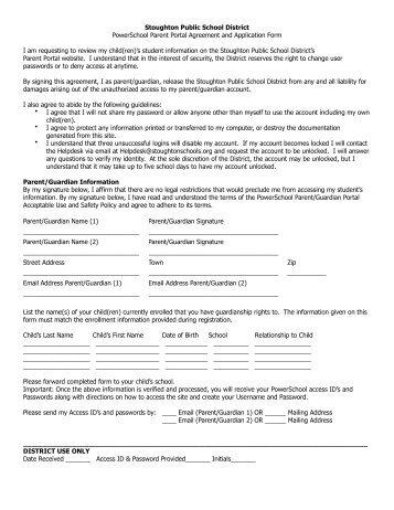 Parent Portal Agreement - Stoughton Public Schools