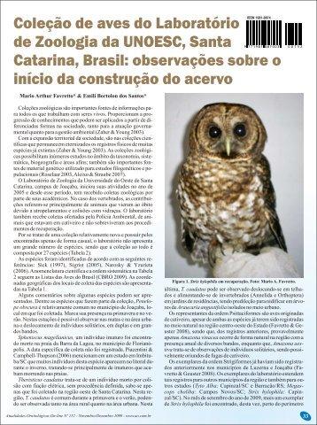 Coleção de aves do Laboratório de Zoologia da UNOESC, Santa ...