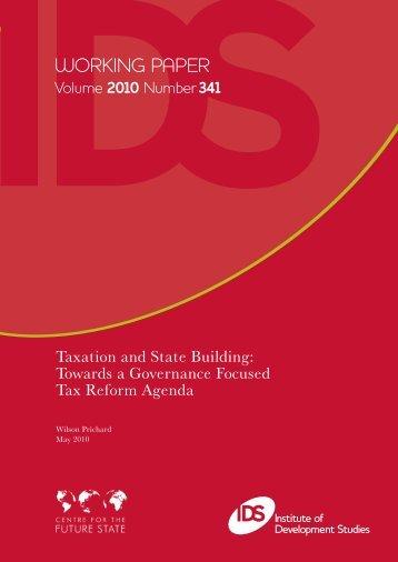 Towards a Governance Focused Tax Reform Agenda - Institute of ...