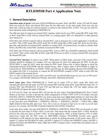 RealTek RTL8305SB Port 4 Application Note