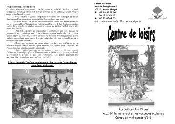 Accueil des 4 – 13 ans A.L.S.H. le mercredi et les ... - Cesson-Sévigné
