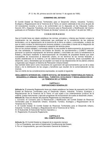 reglamento interior del comité estatal de reservas territoriales para ...
