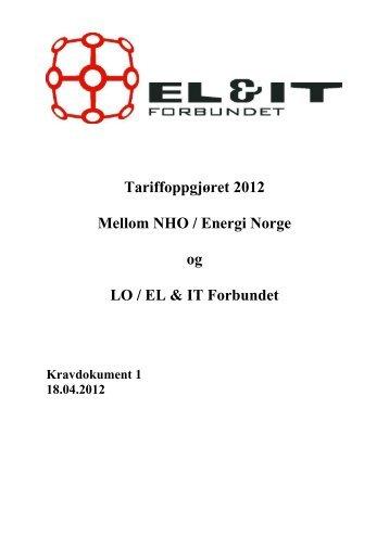 Tariffoppgjøret 2012 Mellom NHO / Energi Norge ... - El og it forbundet