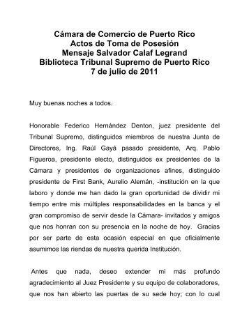 Cámara de Comercio de Puerto Rico Actos de Toma de Posesión ...