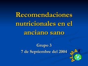Recomendaciones nutricionales en el anciano sano