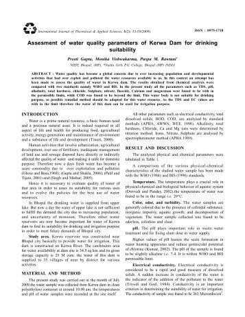 Assesment of water quality parameters of Kerwa Dam for drinking ...