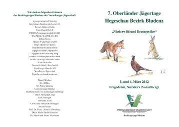 Einladung 7. Oberländer Jägertage - Vorarlberger Jägerschaft