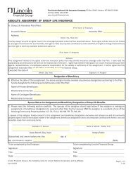 Absolute Assignment of Group Life Insurance Form - Lincoln ...