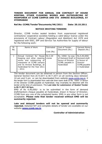 1 tender document for annual job contract of house keeping ... - CCMB
