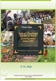 V. N. Alok Role of Panchayat Bodies in Rural Development since 1959