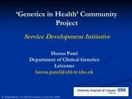 Genetics in Health - National Genetics Education and Development ...