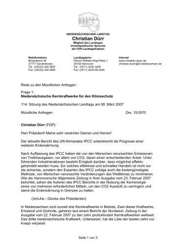 Niedersächsische Kernkraftwerke für Klimaschutz - Dürr, Christian ...